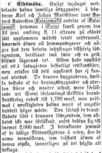 Utdrag ur Vasabladet 27.7.1881 (digiarkisto.fi).