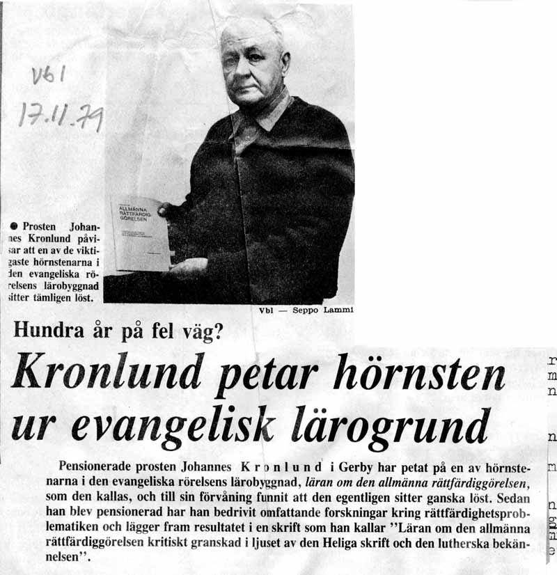 Vasabladets presentation av Johannes Kronlunds stridsskrift mot läran om den allmänna rättfärdiggörelsen 17.11.1979.