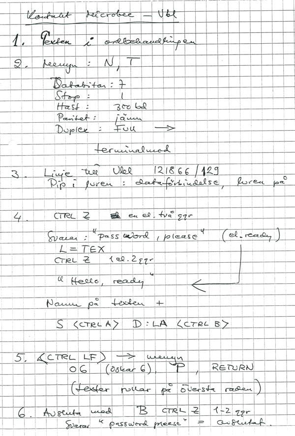 Mina anteckningar om hur man ställer in modem för att sända texter till Vasabladet.
