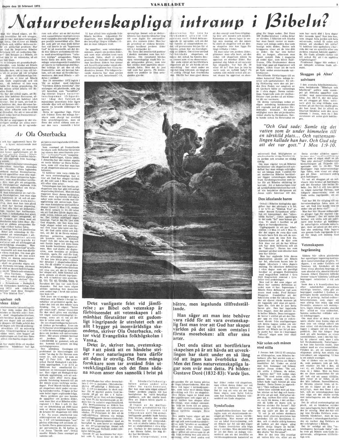 Mitt föredrag om Bibelns trovärdighet slogs överraskande upp på en hel sida i Vasabladet.