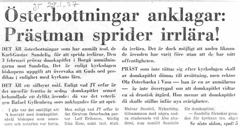 Jakobstads Tidning skrev om vår anmälan till domkapitlet 29.1.1977.
