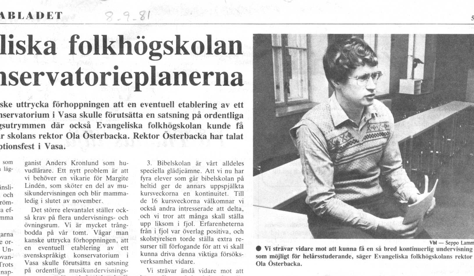 Artikel i Vbl 8.9.1981.