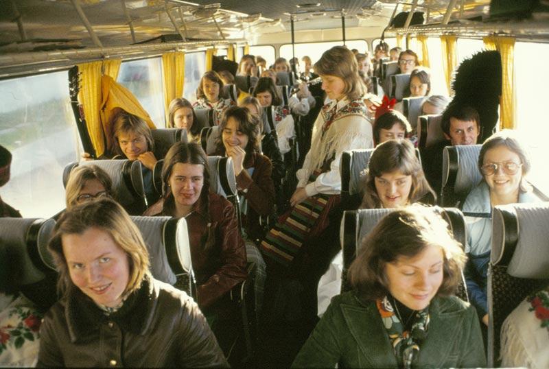 Under mötesresorna var stämningen vanligtvis hög. Bild från 1975-76.