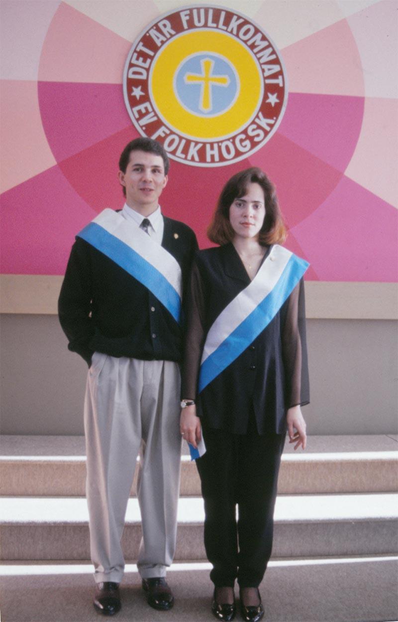 Här ses Juan och Sandra som marskalker under elevförbundshögtiden 1994.