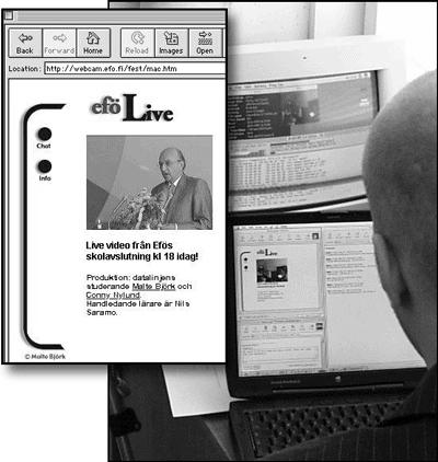 Malte Björk vid direktsändningen och med webbannons inklippt.